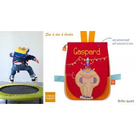 Sac à dos avec prénom brodé - Eléphant Circus