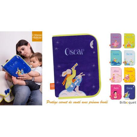 Protège carnet de santé avec prénom brodé - Lapins Lune bleu