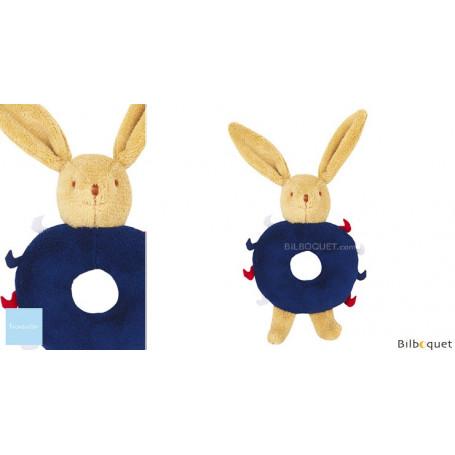Lapin Hochet Anneau Bleu Marine 12cm
