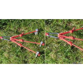 Set de 3 Piquets d'attache avec mousqueton pour cerf-volant monofil
