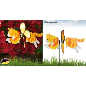 Chat roux à poils longs 48cm - Petite éolienne décorative