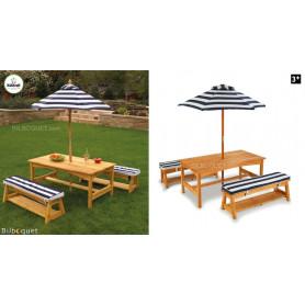 Table et bancs avec parasol et coussins - Mobilier de jardin pour enfants