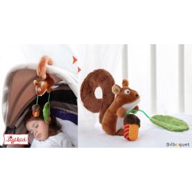 Clip textile écureuil - Jouet pour poussette/cosy