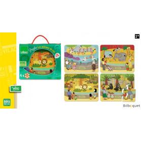 Les animaux du zoo - Coffret en bois de 4 puzzles
