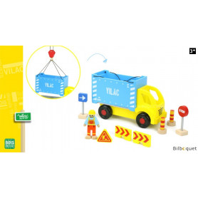 Camion porte-container et accessoires de chantier
