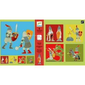 5 pochoirs - Chevaliers