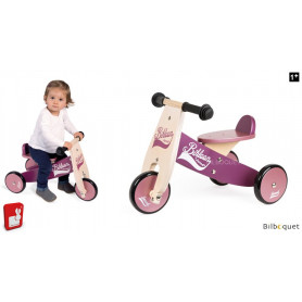 Porteur-tricycle en bois Little Bikloon violet