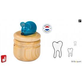 Boite à dents en bois - Souris bleue