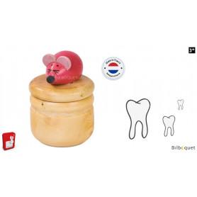 Boite à dents en bois - Souris rose