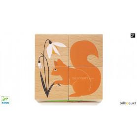 4 cubes en bois Nature & Co