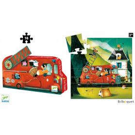 Le camion de pompier - Puzzle Silhouette 16 pièces