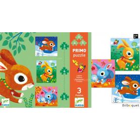 Primo Puzzle Lapins 3/4/5 pièces