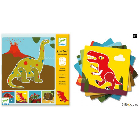 5 pochoirs - Dinosaures - Loisirs créatifs pour enfants