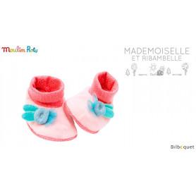 Chaussons roses pour bébé 0-6 mois - Mademoiselle et Ribambelle