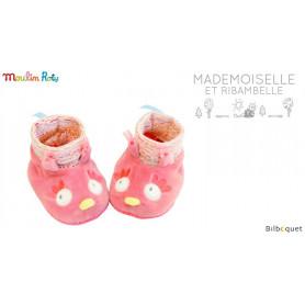 Chaussons roses Chouette pour bébé 0-6 mois - Mademoiselle et Ribambelle
