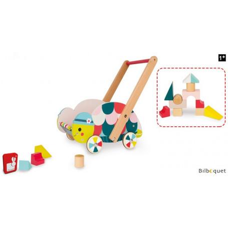 Chariot d'éveil en bois Tortue avec 12 cubes - Baby Forest