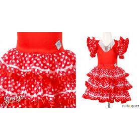 Robe rouge et blanche Marisol - Déguisement enfant