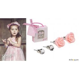 Boucles d'oreilles enfant - 2 paires - rose/gris