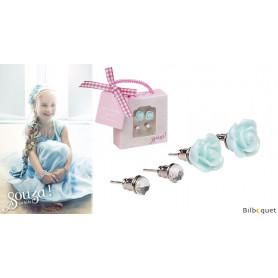 Boucles d'oreilles enfant - 2 paires - bleu ciel/gris