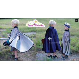 Cape réversible roi/chevalier argent/bleu - Déguisement enfant