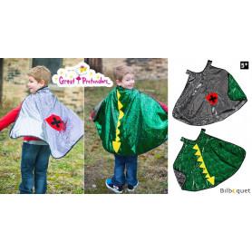 Cape réversible dragon/chevalier vert/argent - Déguisement enfant