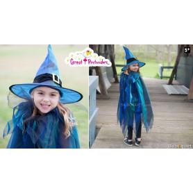 Cape de sorcière avec chapeau - Déguisement enfant