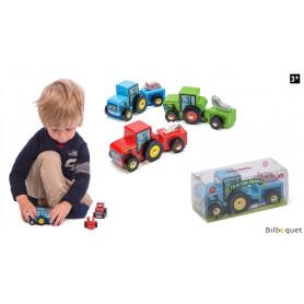 Tracteur avec remorque - BLEU - Petite voiture en bois