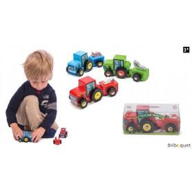 Tracteur avec remorque - ROUGE - Petite voiture en bois