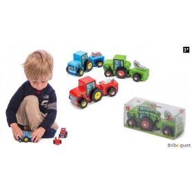 Tracteur avec remorque - VERT - Petite voiture en bois