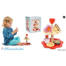 Présentoir à gâteaux sur 2 niveaux - Jouet d'imitation en bois