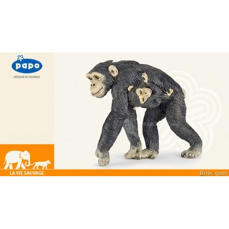 Chimpanzé et son bébé - Figurine en plastique