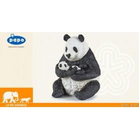 Panda assis et son bébé - Figurine à collectionner
