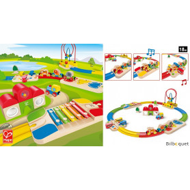 Coffret train musical fermé - Circuit de train arc-en-ciel