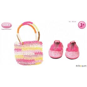 Sac de shopping et chaussures pour poupon/poupée de 42 à 50cm