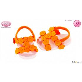 Paire de sandales à fleurs orange fluo pour poupée de 45 à 50cm