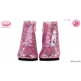 Bottes roses pailletées pour poupée de 42 à 50cm