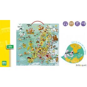 Carte d'Europe magnétique - Jeu éducatif en bois