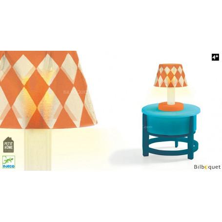 Lampe sur table ronde - Accessoire pour maison de poupées