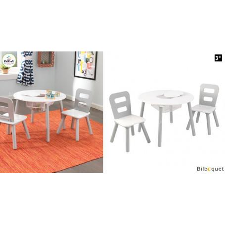 Table ronde et ses 2 chaises - blanc et gris - Mobilier enfant