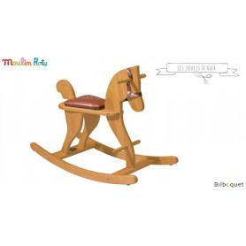 Cheval à bascule en bois de hêtre - Les jouets d'hier