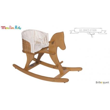 Cheval à bascule en Hêtre et Osier - Les jouets d'hier