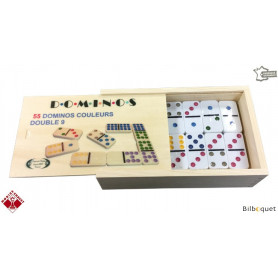 Coffret de 55 dominos couleurs Double 9