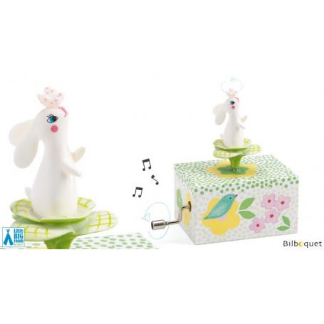 Boîte à musique manivelle - Lapin dans le jardin