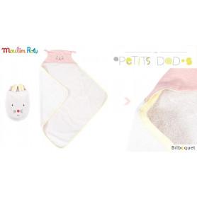 Sortie de bain bébé avec gant de toilette - rose - Les Petits Dodos - Moulin Roty