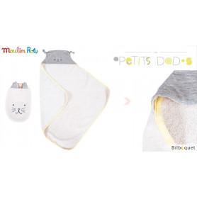 Sortie de bain bébé avec gant de toilette - gris - Les Petits Dodos - Moulin Roty