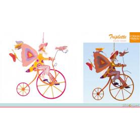 Triplette Ailée rose - Mobile en métal