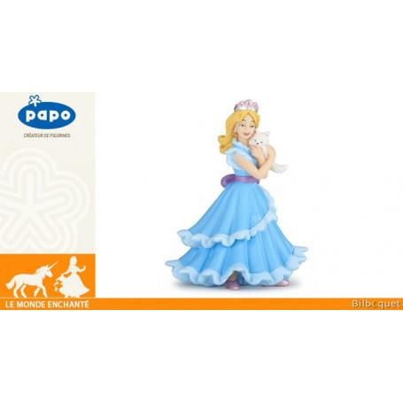 Princesse bleue au chat - Figurine le monde enchanté
