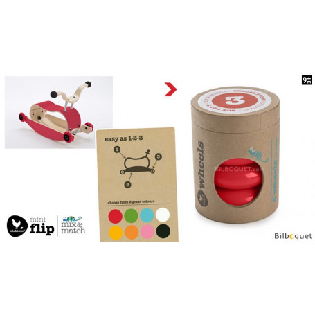 Wishbone Mini-Flip - Set de 4 roues - Rouge