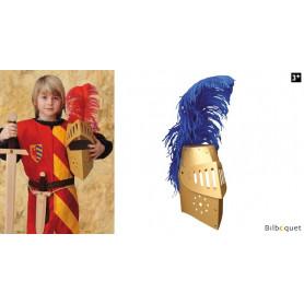 Casque doré riveté avec plume - Accessoire enfant