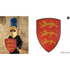 Bouclier en bois 36x50cm - Richard Coeur de Lion - rouge/jaune